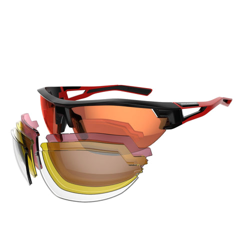 Adult MTB Sunglasses Pack with 4 Interchangeable Lenses XC 100,
