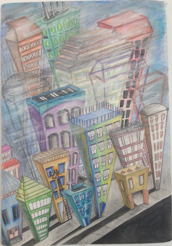 A sketch of the Philadelphia skyline by KIND Institute artist Dynisha Murray.