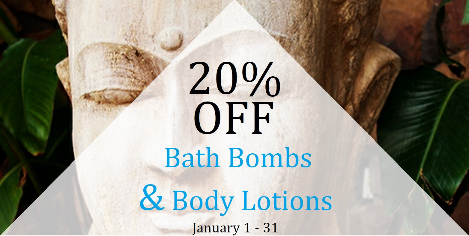 20% OFF Bath Bombs and Body Lotions Jan 1-31