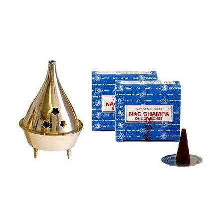 Nag Champa Cones Kit w/ Brass Burner