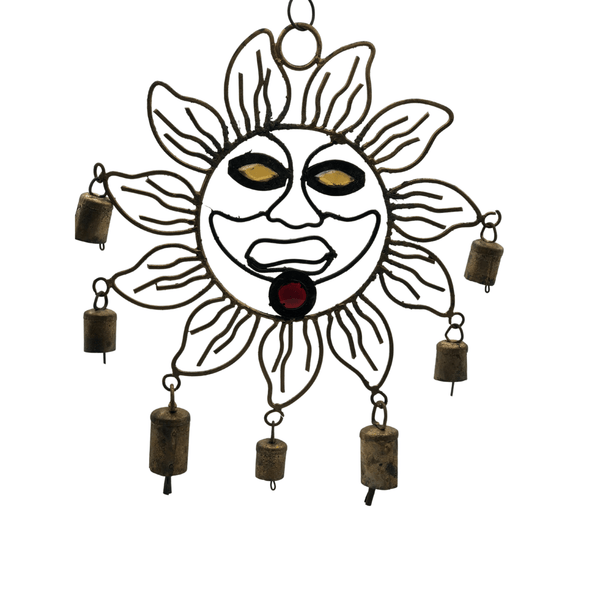 Sun Face Large Metal Wind Chime Handmade with Mini Cowbells
