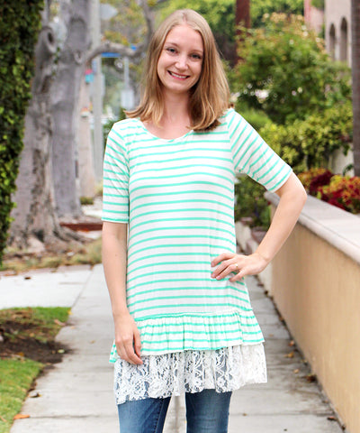 Mint & White Stripe Crochet Hem Tunic