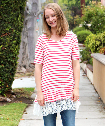 Red & White Stripe Crochet Hem Tunic