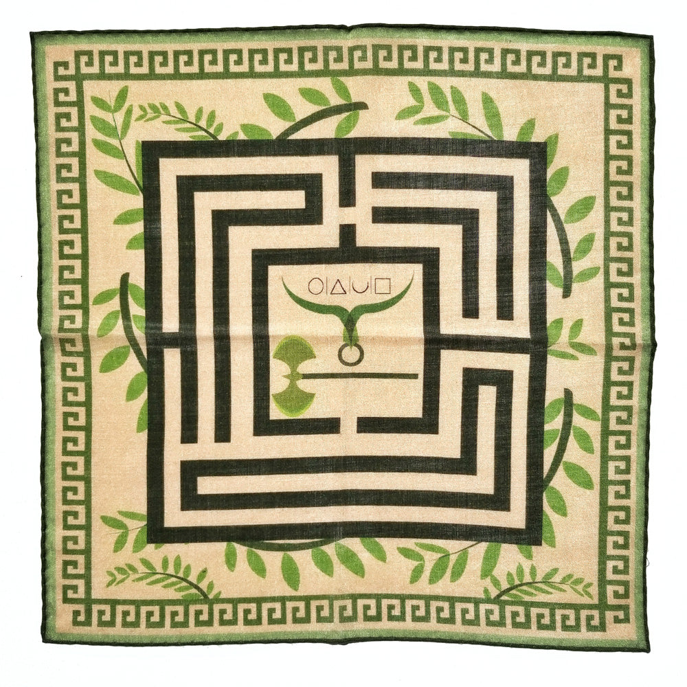 x-of-pentacles-greek-key-motif-wool-silk-neckerchief-green-pocket-square