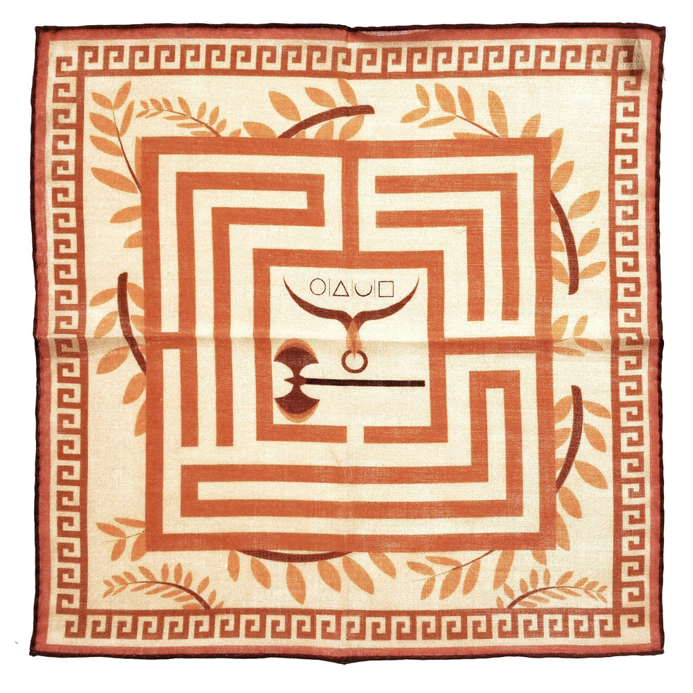 x-of-pentacles-greek-key-motif-wool-silk-neckerchief-rust-pocket-square