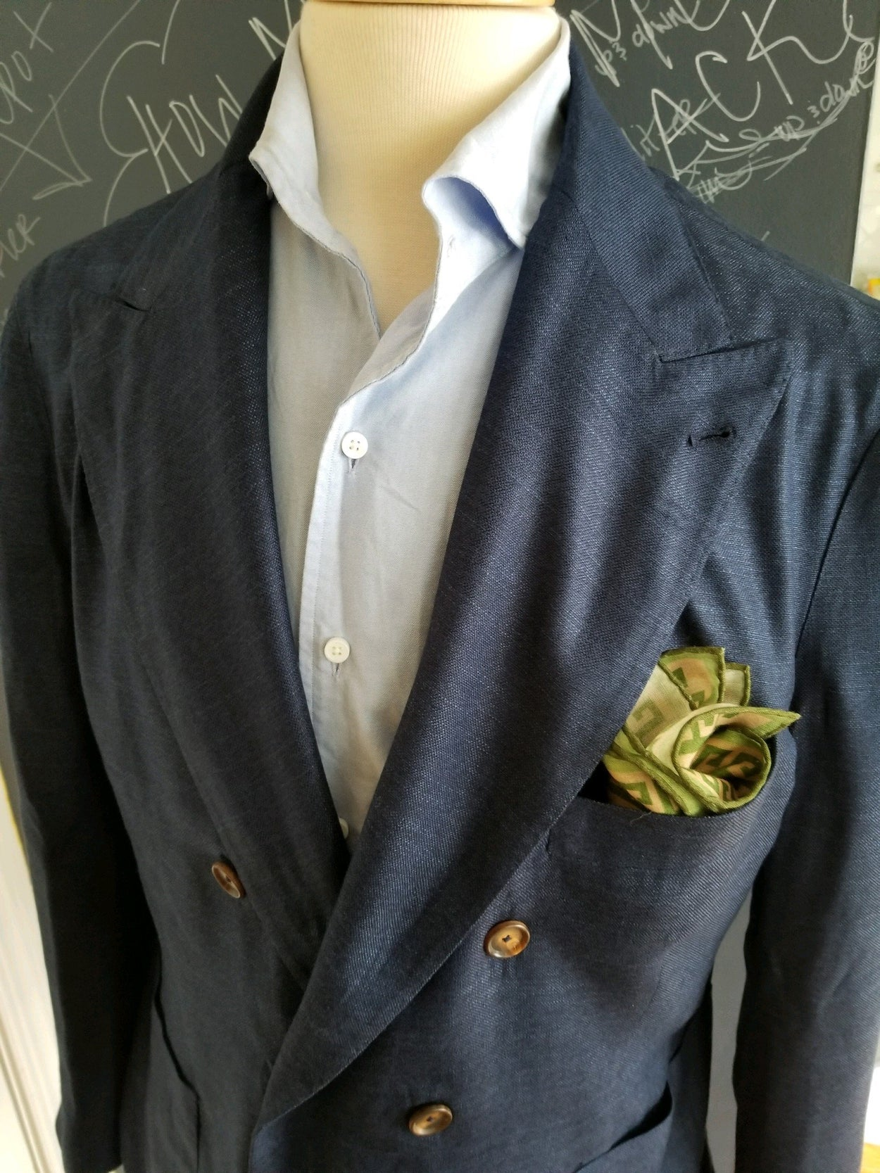Unstructured Neapolitan Double Breasted Sport Coat/Blazer - Royal Blue 40R