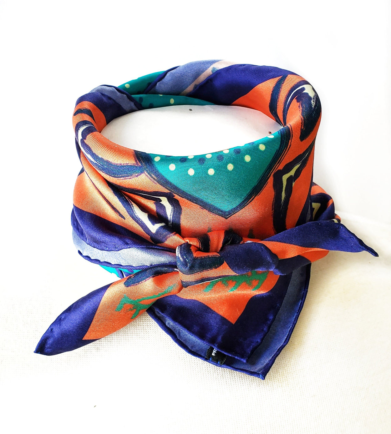 Aborigine Art Print Silk Twill Carré Scarf - Melon Blue