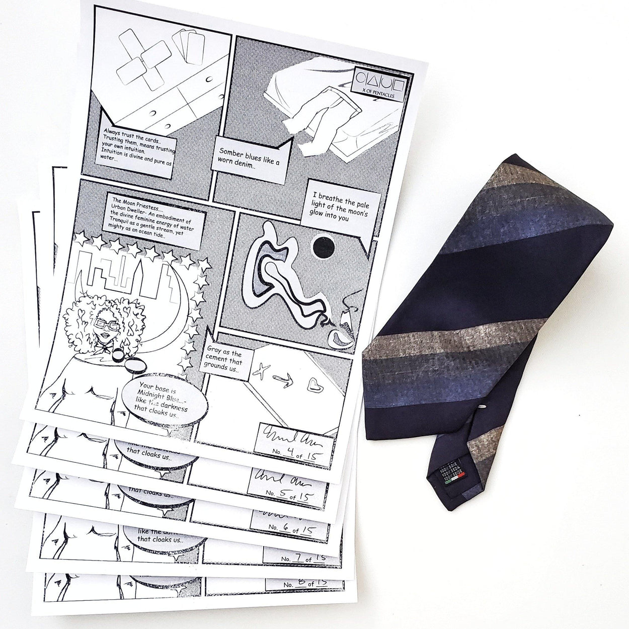 Comic Print Stripe Silk Tie Midnight Blue