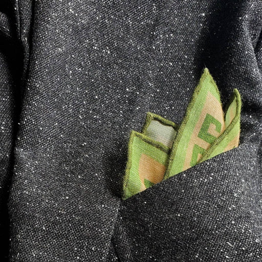 Minotaur Greek Key Wool Silk Neckerchief Pocket Square - Green