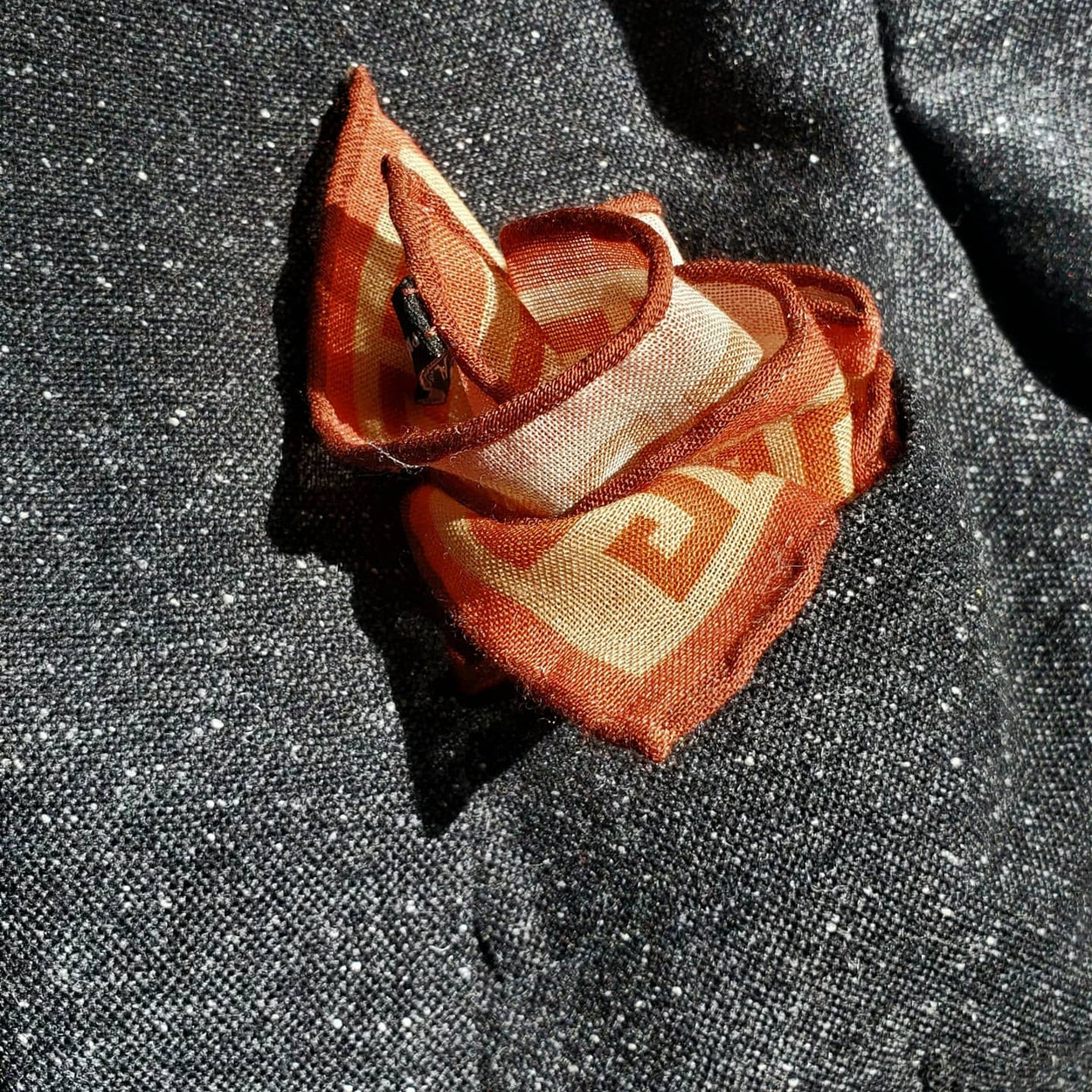 Minotaur Greek Key Wool Silk Neckerchief Pocket Square - Orange - X Of Pentacles