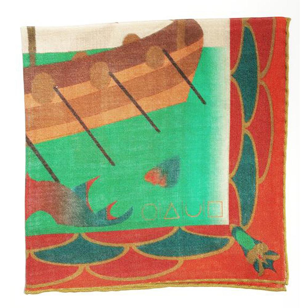 Norse Mythology Wool Silk Pocket Square - Cayenne Red
