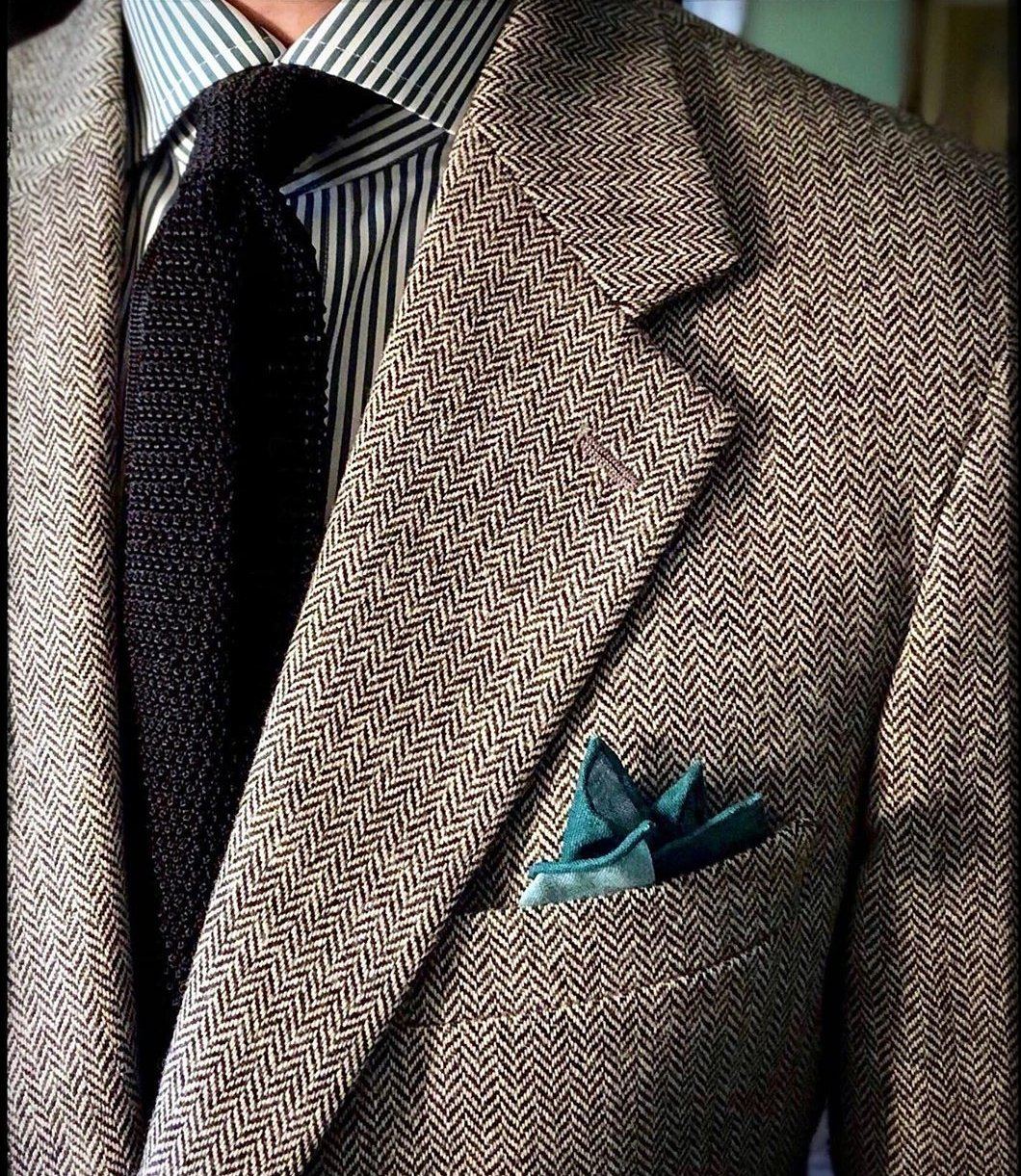 King Neptune Green Teal Wool Silk Pocket Square - X Of Pentacles