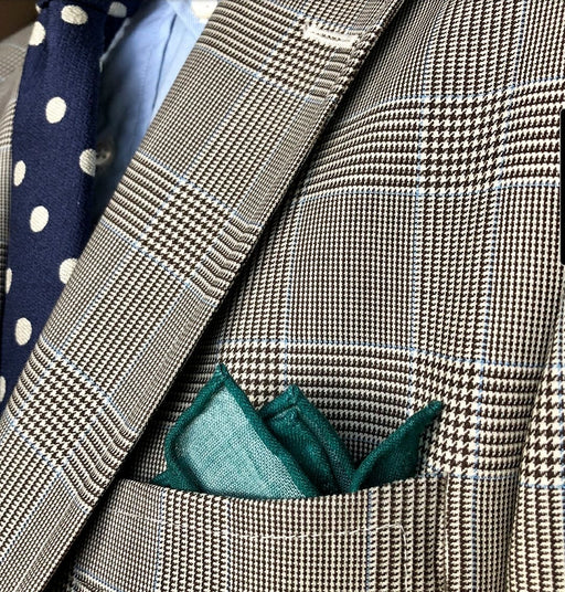 King Neptune Green Teal Wool Silk Pocket Square