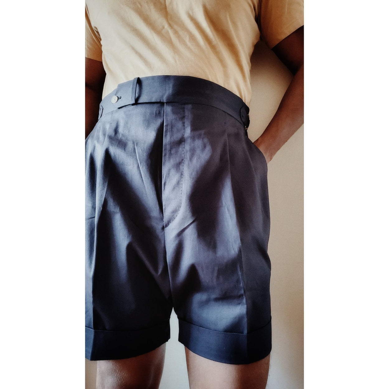 High Waisted Shorts - Cotton Twill - X Of Pentacles