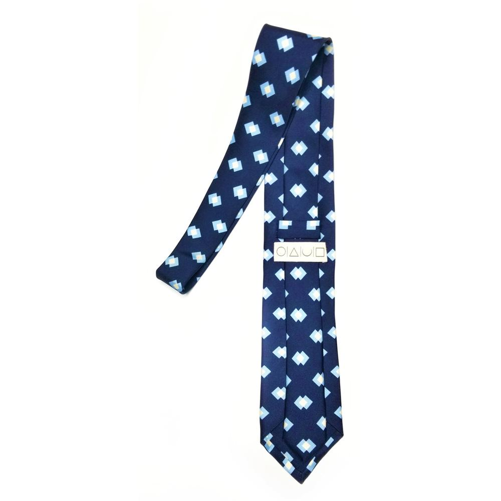 Retro Block Print Macclesfield Silk Tie - Navy Blue