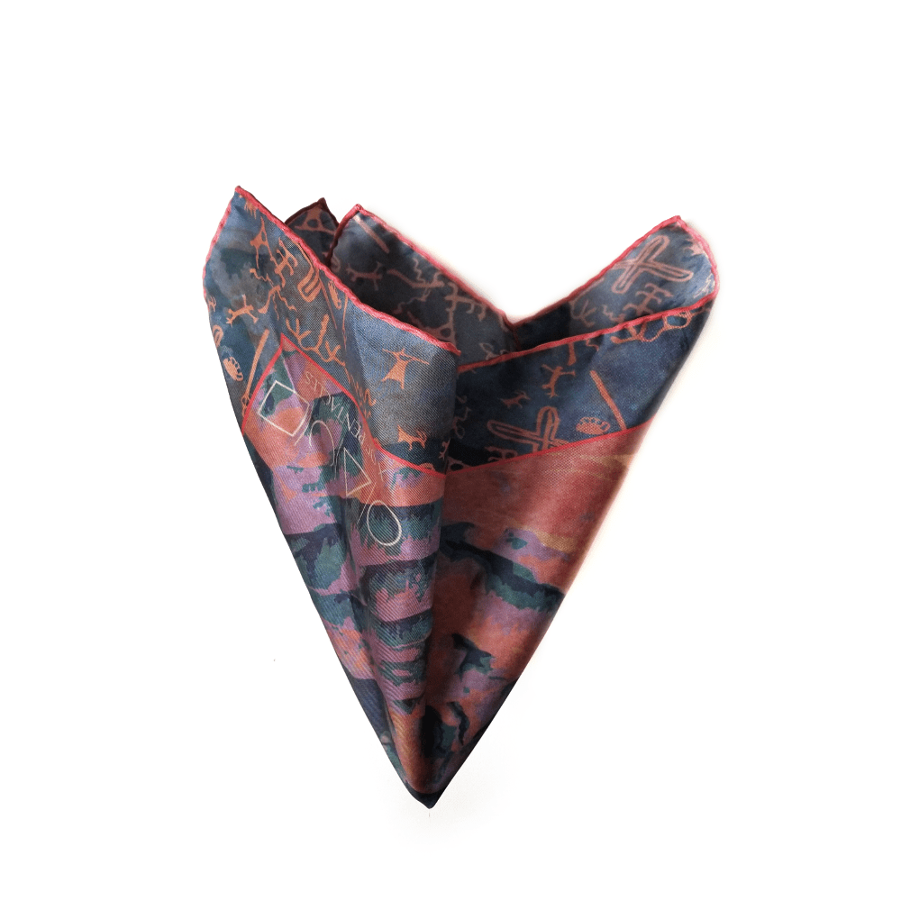 Death Valley Silk Twill Blue Neckerchief Pocket Square