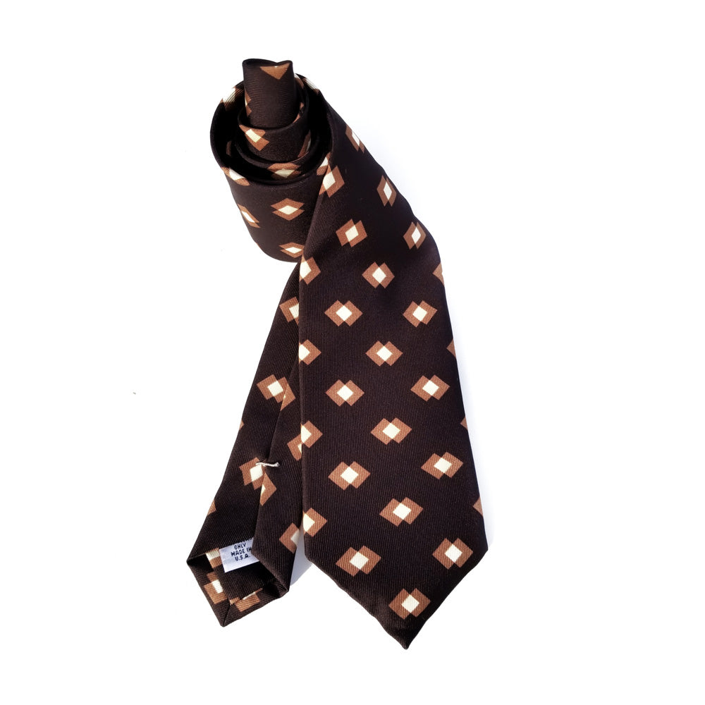Retro Block Print Macclesfield Silk Tie - Chocolate Brown