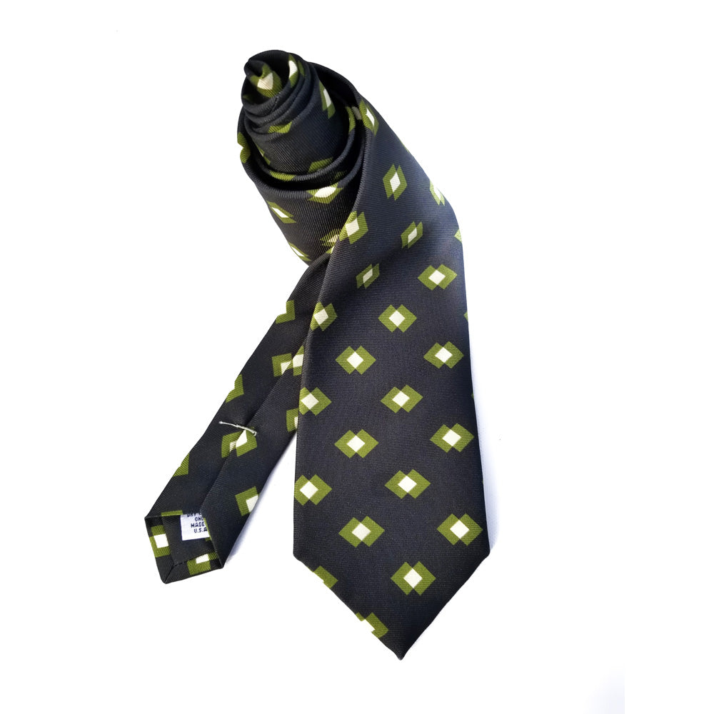 Retro Block Print Macclesfield Silk Tie - Pine Green