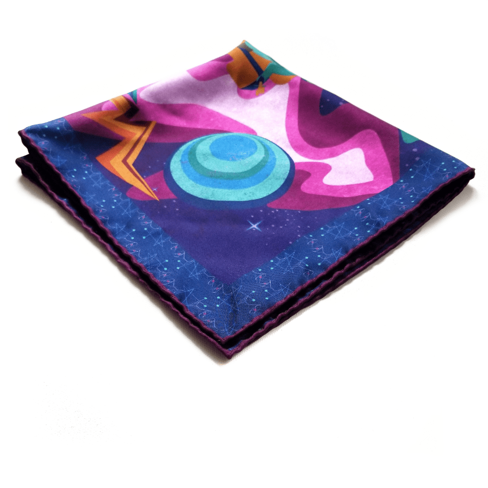 x of pentacles navy blue silk space age atomic print pocket square