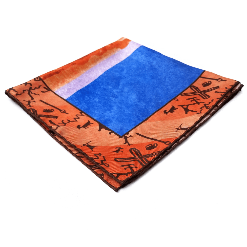 Valley Of Fire Silk Twill Neckerchief Orange Pocket Square - X Of Pentacles