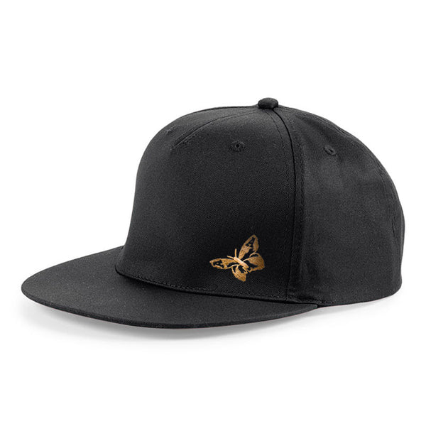 BUTTERFLY EMBROIDERED BLACK BASEBALL CAP