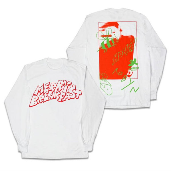 MERRY BREAKFAST LONG SLEEVE WHITE SHIRT