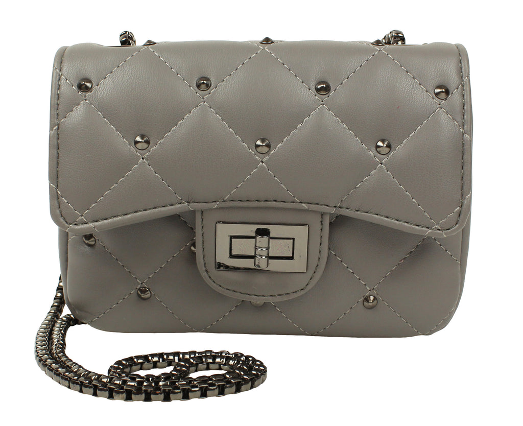 Popatu Grey Quilted Handbag - Popatu pageant and easter petti dress