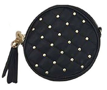 Popatu Black Quilted Round Crossbody Handbag - Popatu pageant and easter petti dress