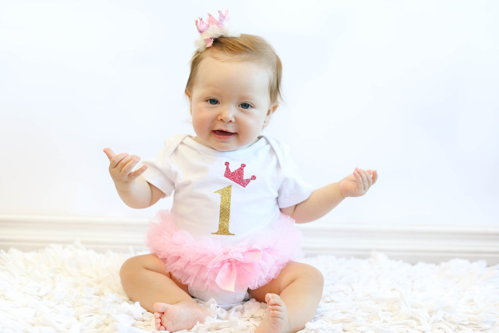 Popatu Baby Tutu Bodysuit White with Gold 1 - Popatu pageant and easter petti dress
