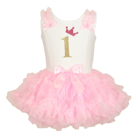 Popatu White 1st Birthday Ruffle Petti Dress - Popatu pageant and easter petti dress
