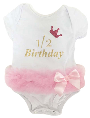 Popatu Baby Tutu Bodysuit Half Year Birthday Tutu - Popatu pageant and easter petti dress