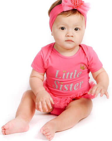 "Hotpink ""Little Sister"" Ruffle Bodysuit - Popatu pageant and easter petti dress"