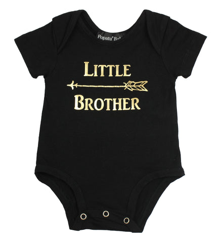 """Little Brother"" Black Baby Bodysuit"