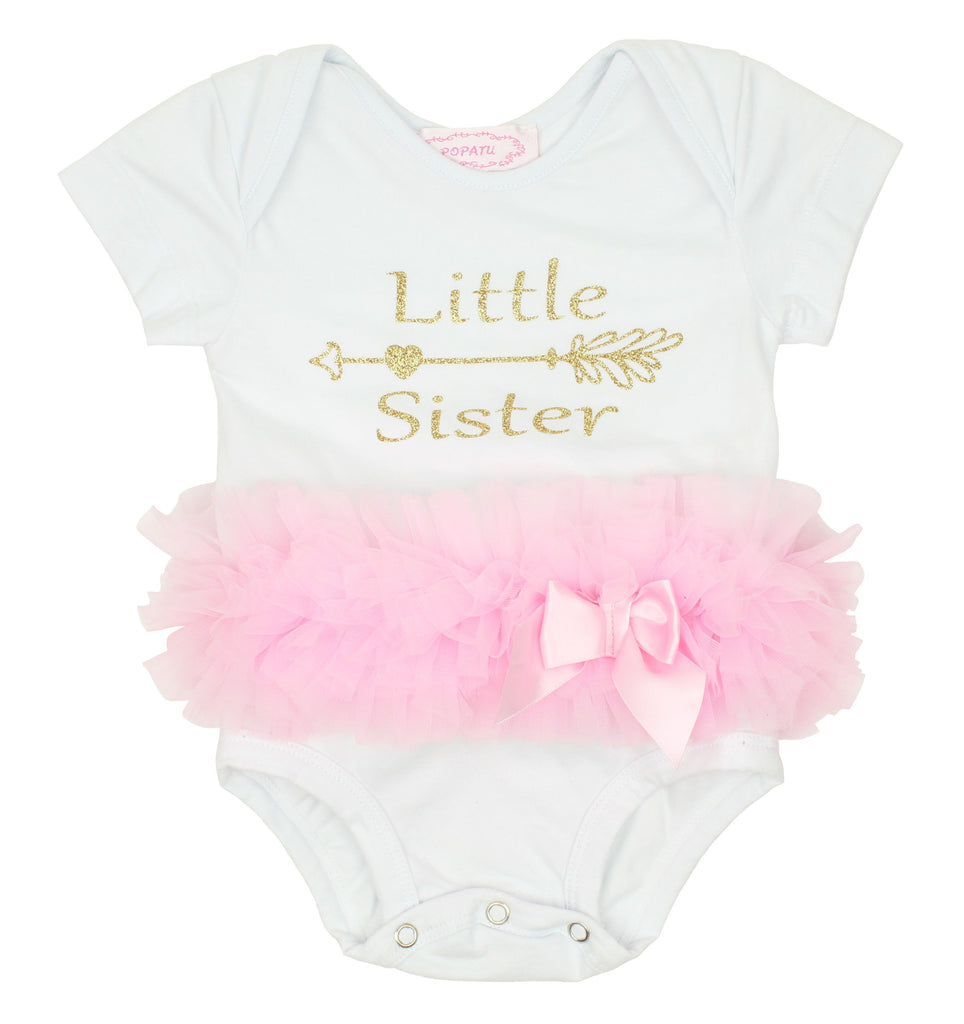"White ""Little Sister"" Ruffle Bodysuit - Popatu pageant and easter petti dress"