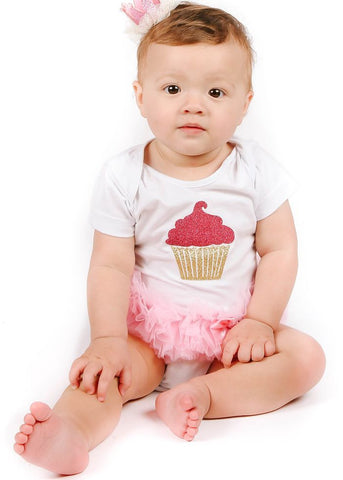 HotPink/ Gold Cupcake Ruffle Bodysuit - Popatu pageant and easter petti dress