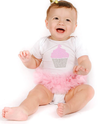 Pink/Silver Cupcake Ruffle Bodysuit - Popatu pageant and easter petti dress