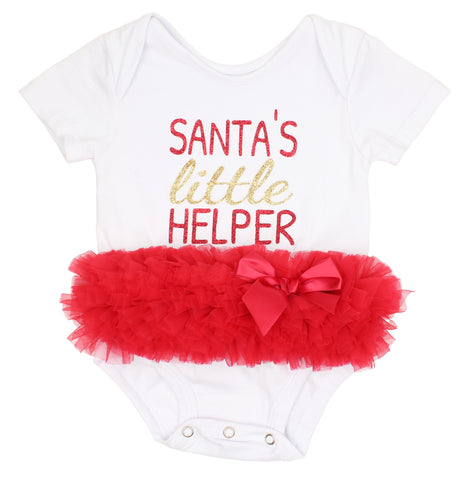 Santa's Little Helper Christmas Tutu Bodysuit