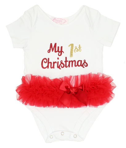 Popatu Baby Tutu Bodysuit 1st Christmas - Popatu pageant and easter petti dress