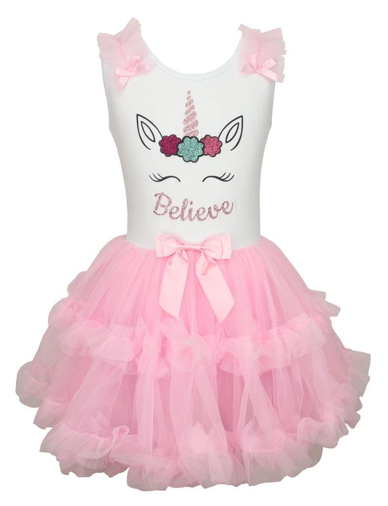 Popatu Little Girls Unicorn Ruffle Dress Believe - Popatu pageant and easter petti dress
