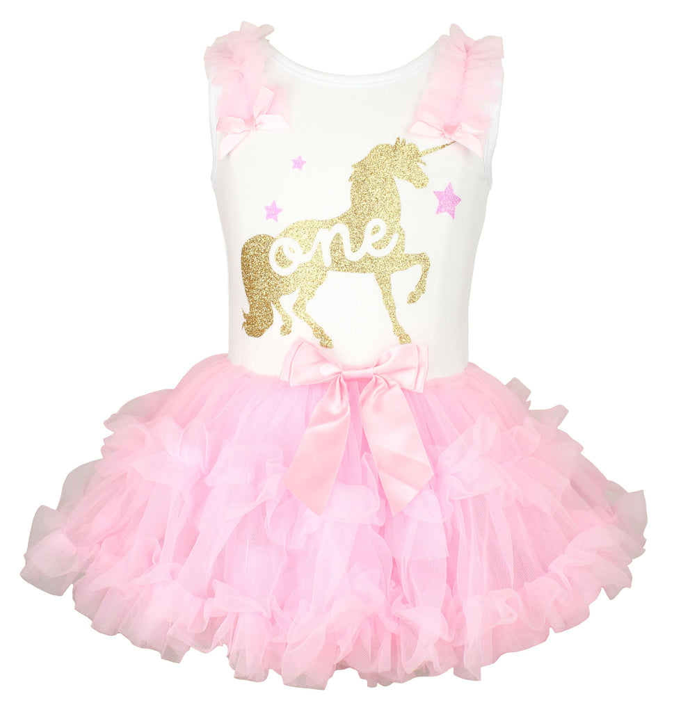 Popatu Baby Girls Unicorn Ruffle Dress for First Birthday - Popatu pageant and easter petti dress