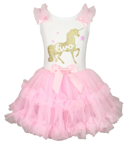Popatu Little Girls Unicorn Dress  2 Birthday - Popatu pageant and easter petti dress