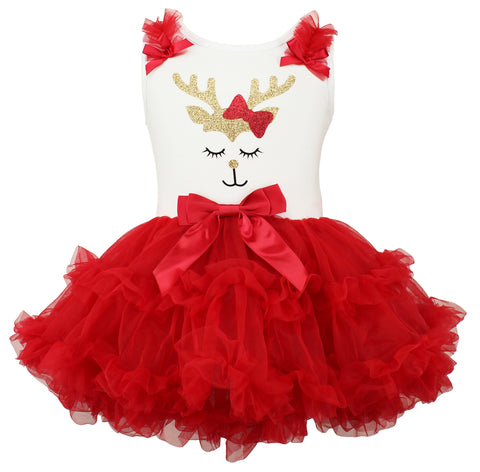 Popatu Baby Girls Reindeer Bow Christmas Ruffle Dress - Popatu pageant and easter petti dress