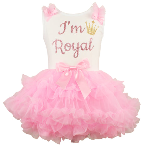 Popatu Little Girls I'm Royal Ruffle Dress - Popatu pageant and easter petti dress