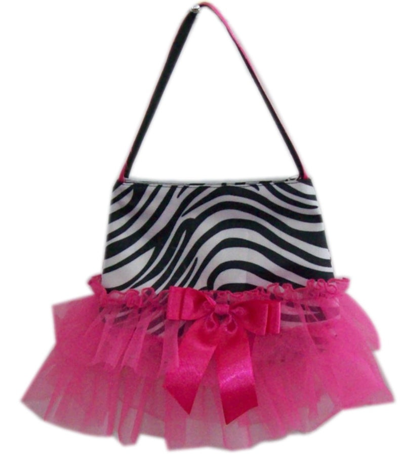 Zebra Purse with Hotpink Ruffles