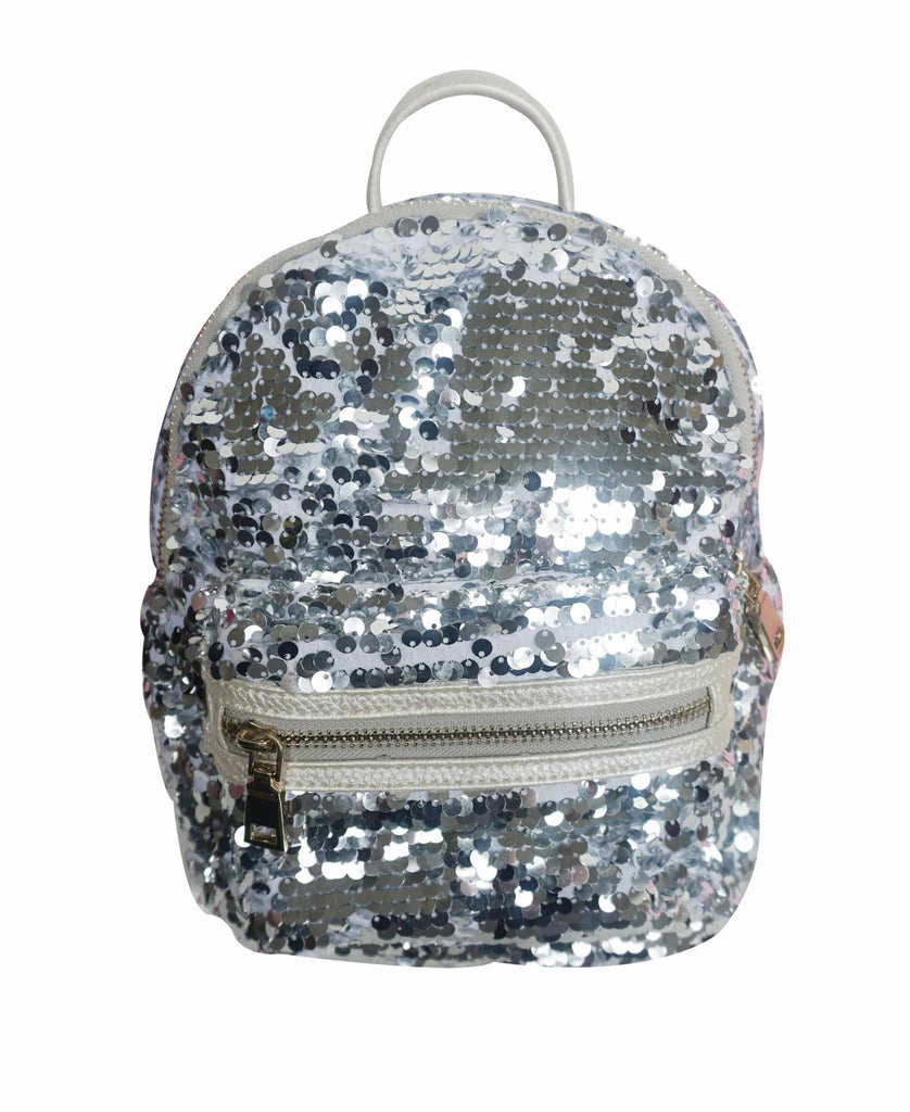 Popatu Sequin Silver Mini Backpack
