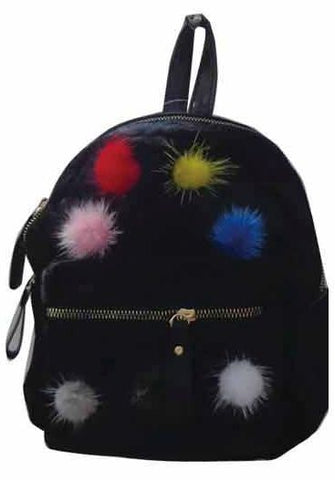 Popatu Black Pom Poms Mini Backpack - Popatu pageant and easter petti dress