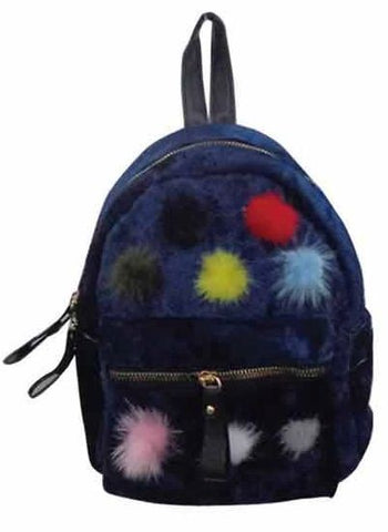 Popatu Navy Pom Poms Mini Backpack - Popatu pageant and easter petti dress