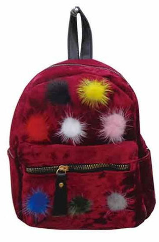 Popatu Red Pom Poms Mini Backpack - Popatu pageant and easter petti dress