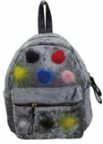Multi Color Pom Poms Little Girls Backpack