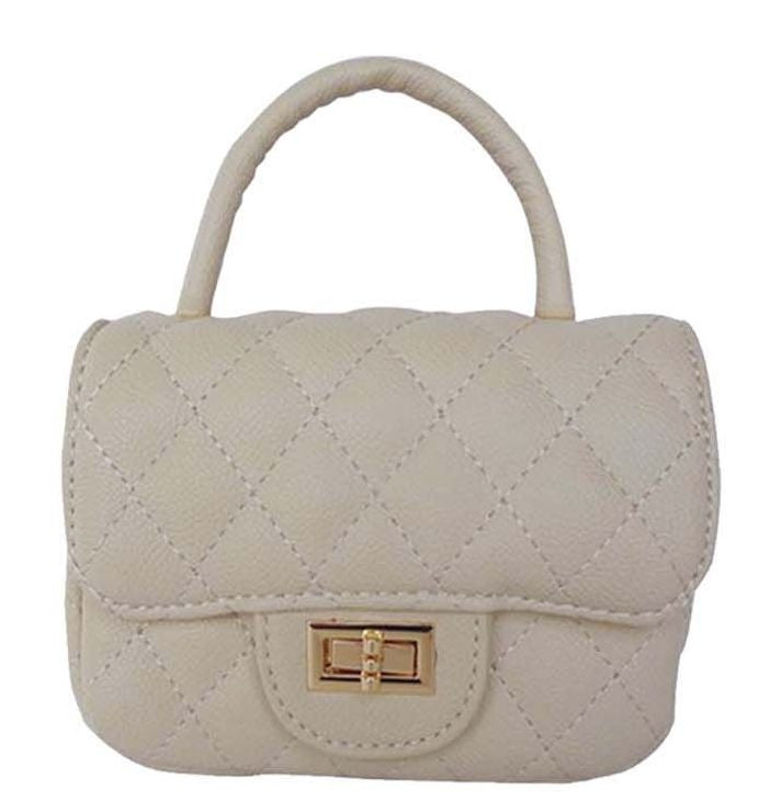 Popatu Cream Color Quilted Satchel Handbag - Popatu pageant and easter petti dress